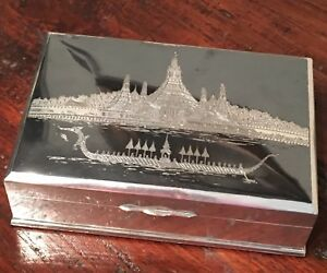 Antique Bangkok Siam Niello Sterling Silver Cigarette Jewelry Trinket Box