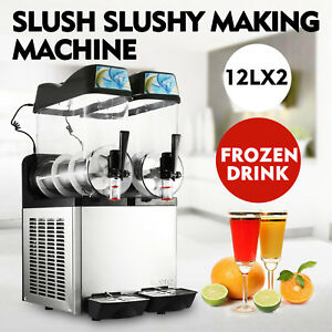 2 Tanks 24l Commercial Frozen Drink Slush Slushy Machine 2 Compressors Admixture