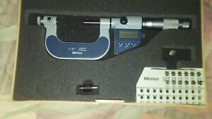 Mitutoyo Inch metric Electronic Thread Micrometer Set Anvils Included