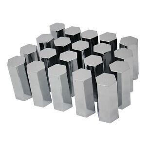 33mm Lug Nut Covers Chrome Screw On Style Plastic 20 Hex Flat Top 5 Long