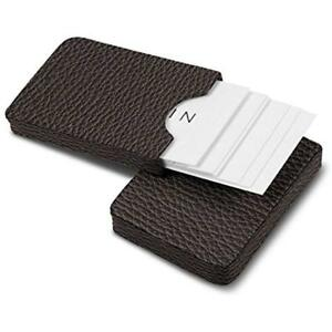 Sliding Case For Business Cards Dark Brown Granulated Leather