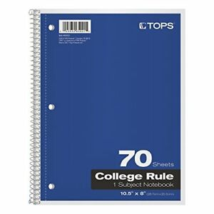 Tops 1 subject Spiral Notebooks College Rule 8 X 10 5 Inches 70 White Sheets