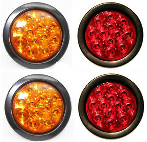 2 Amber Red Multifunction Led 4 Round Stop Turn Tail Strobe Truck Trailer Light