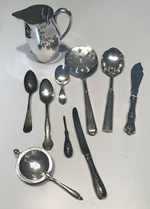 Sterling Silver Lot Of 10 Pieces Hardy Hayes Revere Pitcher Flatware 370 Grams