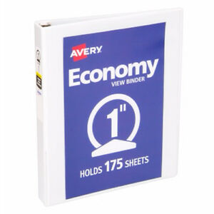 New Avery 1 White Economy Round Ring View Binders 12pk 05711