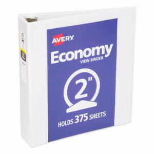 New Avery 2 White Economy Round Ring View Binders 12pk 05731