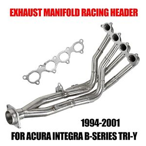 Exhaust Manifold Racing Header B16 B18b20 Fit 94 01 Acura Integra B Series Tri Y