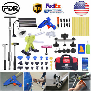 64 Auto Dent Paintless Repair Pdr Tools Led Light Board Hammer Glue Removal Set