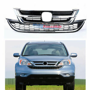 For Honda Crv Cr v 2010 2011 Front Bumper Hood Upper lower Mesh Chrome Grille