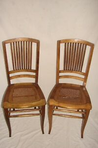 Antique Vintage Wood And Cane Chair Set Of 2 Damaged