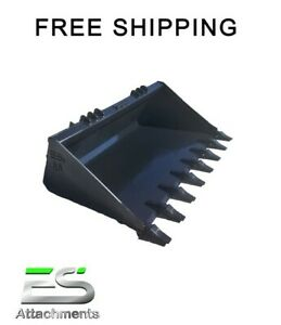New 66 Tooth Bucket Powder Coated For Skid Steer Loader Free Shipping