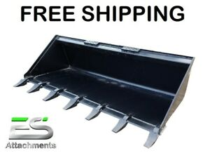 New 72 Tooth Bucket Powder Coated For Skid Steer Loader Free Shipping