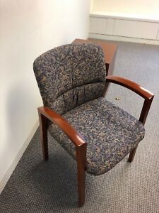 Guest Chair By Kimball Office Furniture W Cherry Wood Frame Multi Color Fabric