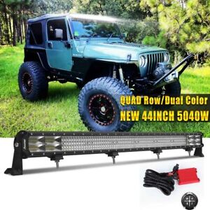 52inch Quad row Led Work Light Bar Amber White Combo Fog Lamp Wiring Harness