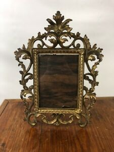 Vintage Victorian Brass Ornate Picture Frame Easel Style