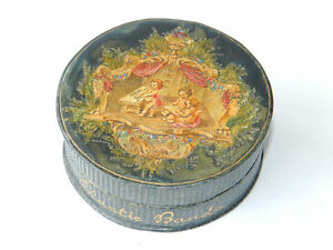 Antique Victorian Era Embossed Artwork Elastic Bands Box Decor Celluloid Leather