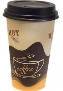 16 Oz Paper Coffee Cups With Lids 100 sets Plus 5 clip On Cup Handles