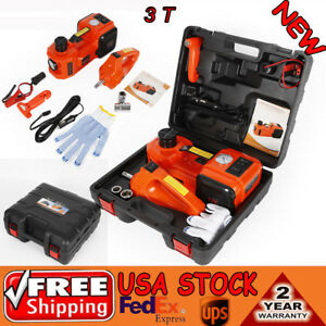 12v Dc 3t Electric Hydraulic Floor Jack Lift Lifting Set With Impact Wrench New