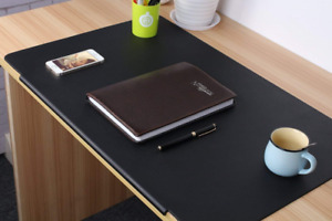 Leather Desk Mat Protector Writing Typing Laptop Pad Rectangular Large Black New