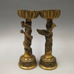 A Pair China Antique Brass Dragon Lamp Holder Home Decoration Candlestick