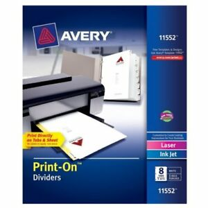 New Avery 8 tab Print on Dividers With White Tabs 5 Sets Free Shipping
