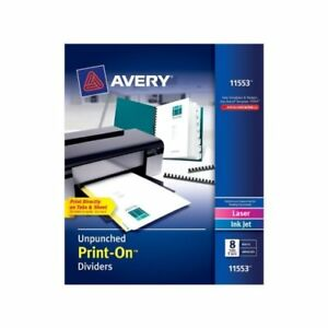 New Avery 8 tab Unpunched Print on Dividers With White Tabs 5 Sets