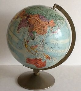 Vintage 12 Dia Replogle Stereo Relief Globe Raised Terrain Usa
