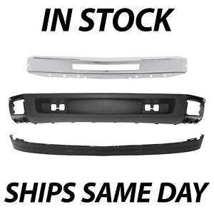 New Complete Steel Front Bumper Deflector Kit For 2007 2013 Chevy Silverado 1500