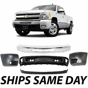 New Complete Steel Front Bumper End Cap Kit For 2007 2013 Chevy Silverado 1500