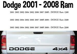 Dodge Ram 2001 2008 Tailgate Decals 1 Dodge And 1 4 X 4 Oem 18 5 W12
