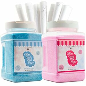 The Candery Cotton Candy Floss Sugar 2 pack Includes 100 Premium Cones Blue