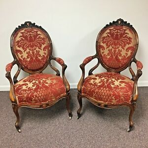 Pair Of French Victorian Carved Walnut Rosewood Arm Chairs