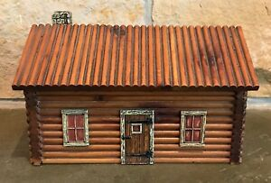 Antique Early 1920 S Americana Log Cabin Hinged Trinket Box By Mcgraw Box Co Ny