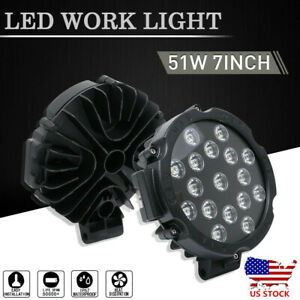 Pair 51w Round Led Work Light Flood Spot Off Road Fog Lamp Driving Boat Jeep 7