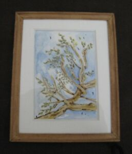 Vintage Miniature Wood Picture Frame Hand Painted Water Color 3 1 2 Wide