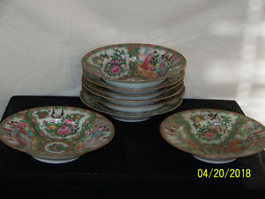 Chinese C1800 S Rose Medallion Set Of 8 Large Hand Painted Bowls