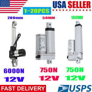 1 20pcs 50mm 100mm 200mm Stroke Linear Actuator Pound Max Lift 12v Dc Motor Lot