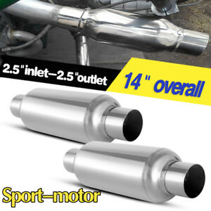 2pcs Universal 2 5 Inlet outlet Performance Mufflers Silencer Stainless Steel