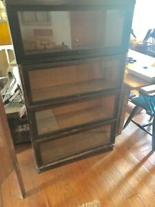 Antique Oak Globe Wernicke Barrister Four Section Bookcase