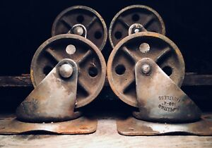 Vtg Factory Cart Casters Antique Cast Iron Industrial Coffee Table Metal Wheels
