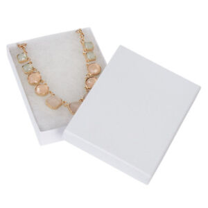5 X 3 X Inch White Embossed Cotton Filled Jewelry Boxes 100 Included
