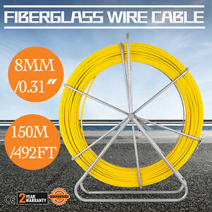 8mm 150m Fiberglass Wire Cable Running Rod Fish Tape Puller Rodder Yellow Duct