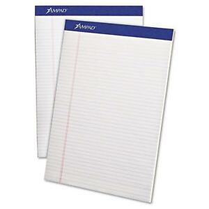 Ampad 20322 Perforated Writing Pad 8 1 2 X 11 3 4 White 50 Sheets pack Of