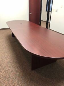 Oval Shape Conference Table In Mahogany Color Laminate 12ft L