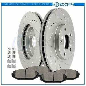 Front Brake Rotors Ceramic Pads Drilled Slotted For 1999 2004 Honda Odyssey