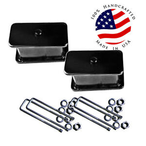 4 Fabricated Steel Lift Blocks Pair For Rear Axle 1988 99 Chevy Suburban Tahoe