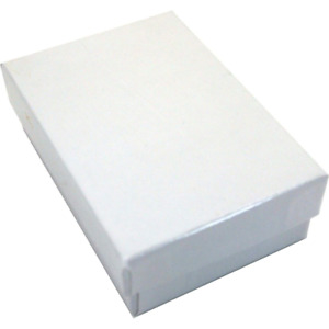 100 Pendant Necklace Gift Boxes Lot White Cotton Filled Jewelry Packing 3 25