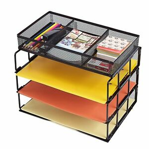 Mesh Desktop Office Organizer 3 tier Stackable Paper Letter Tray With
