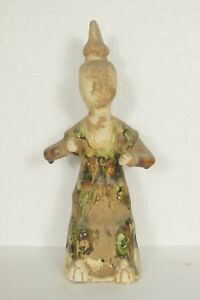 Tang Dynasty Old Tang San Cai Chinese Antique Pottery Woman Figure Statue Man