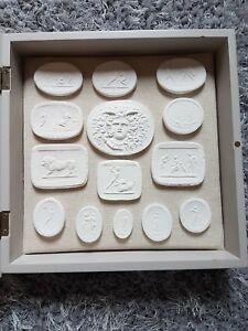 14 Grand Tour Intaglios Display Cabinet Frame Gems Medallions Tassie Seals Cameo